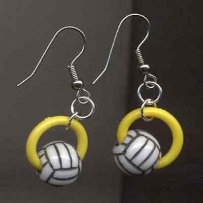 Volleyball Player Costume (Funky VOLLEYBALL BEAD EARRINGS-Sports Team Player Novelty Costume)