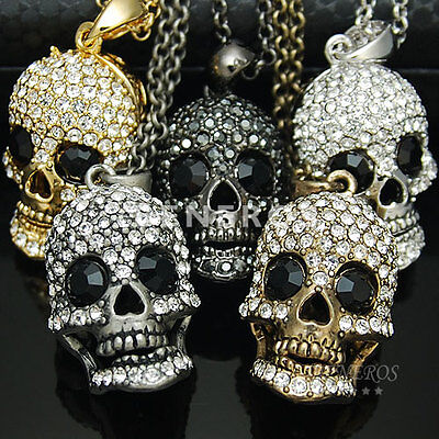 Human Skull Head Pendant Necklace Mens Unisex Biker Jewelry Crystal