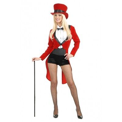 Circus Costume For Women (ADULT WOMENS LADY RED TUXEDO TAILCOAT CIRCUS SWEETIE RINGMASTER COSTUME)