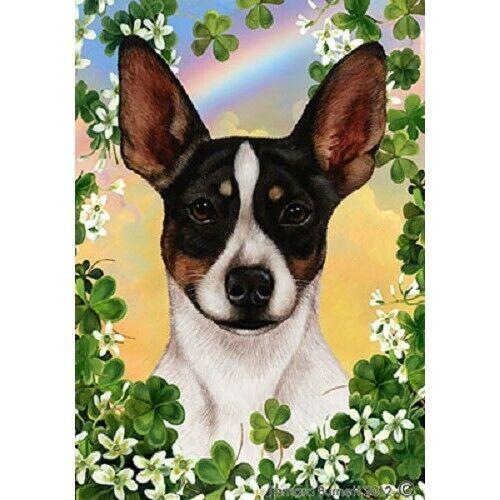 Clover Garden Flag - Tri Rat Terrier 313241