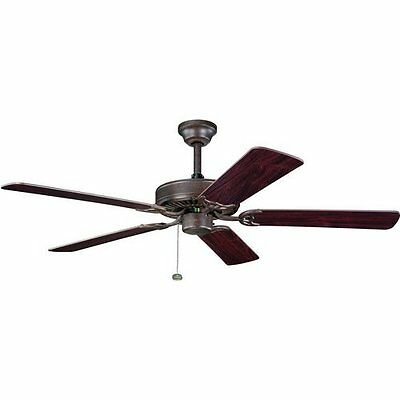 "Tannery Bronze 52"" Ceiling Fan With Teak/Cherry Blades"