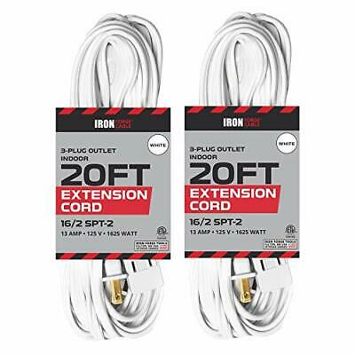 20 Ft White Extension Cord 2 Pack - 16/2 Durable Electrical Cable