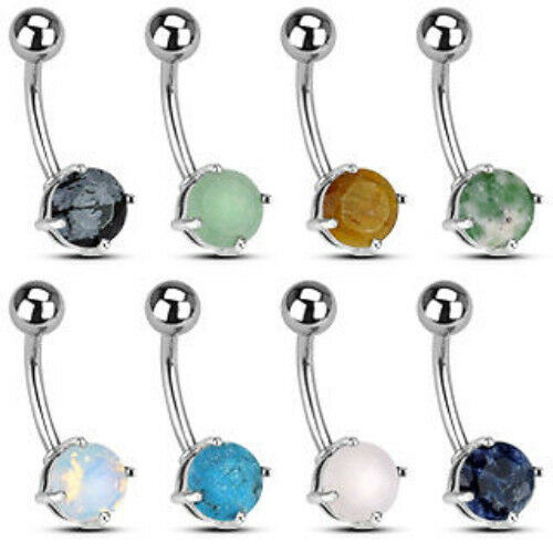 B#180- 8pc Stone Solitaire Belly Rings Navel Naval