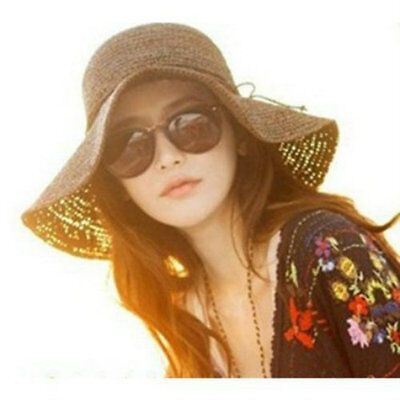 HOT! Summer Beach Retro Women Wide Brim Floppy Fold Beach Straw Sun Hat NEW