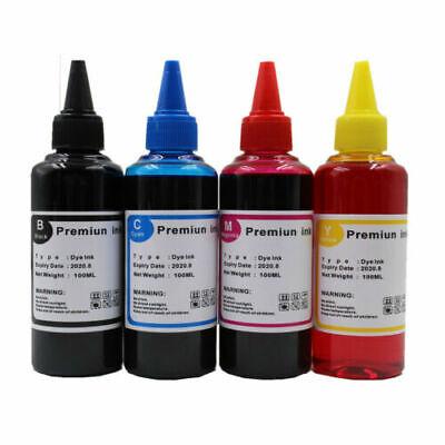 BLACK CYAN MAGENTA YELLOW INKJET PRINTER REFILL INK 400ML QUALITY DYE - Dye Based Inkjet Ink