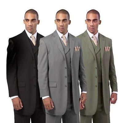 3 Piece Vested Wool Suit (Men's 3 Piece Luxurious Wool Feel 4 Button Suit with Pants and Vest 5263 38R~56L )