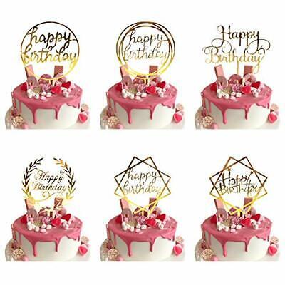 6 Pcs Happy Birthday Cake Topper Gold Geburtstag Kuchen Topper/Tortenstecker ...