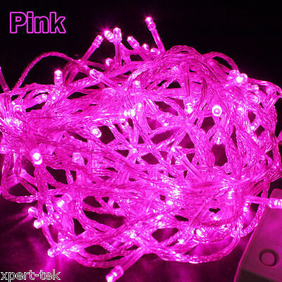 100 LED 10M PINK String Fairy Lights Christmas Wedding Garden Party Xmas Decor - Pink String Lights