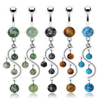 B#175- 5pc Stone Vine Belly Rings Navel Naval