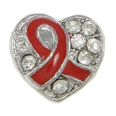 Red Awareness Ribbon (Red Awareness Ribbon Antiqued Silver Rhinestone Heart 4.5mm Hole Charm Bead 1)
