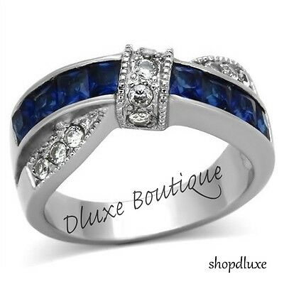 1.75 CT BLUE MONTANA SAPPHIRE & CZ STAINLESS STEEL FASHION RING WOMEN'S SZ 5-10