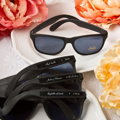 40-200 Personalized Black Sunglasses - Beach Themed Wedding Shower Party Favor](Beach Themed Wedding Favors)