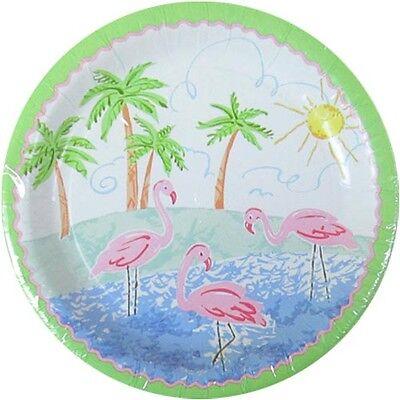 HAWAIIAN LUAU Pastel Flamingo SMALL PAPER PLATES (8) ~ Birthday Party Supplies - Hawaiian Paper Plates