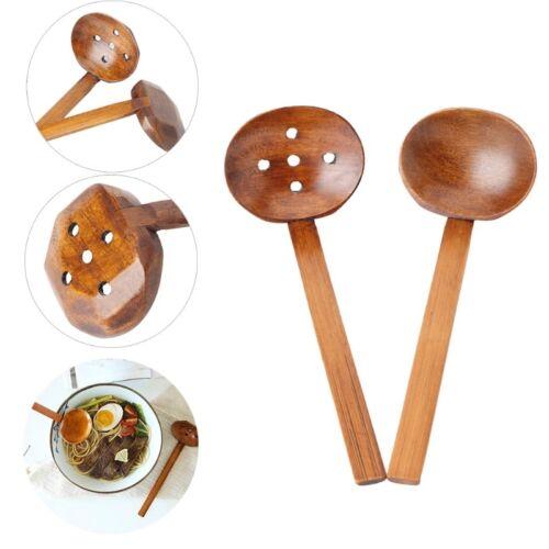 Wood Ladle Serve Pierced Table Spoon Hot Pot Ramen Soup Spoo
