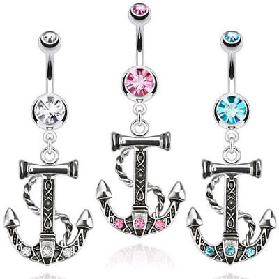 Anchor Dangle Belly Ring Pierced Navel Ship Nautical CZ Gem Clear, Pink, Aqua Clear Gem Dangle Belly Ring