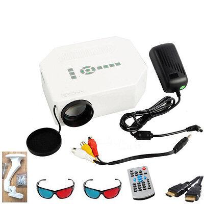 Full HD Support White Mini LED Projector Home Cinema Multimedia 1080P HDMI 3D