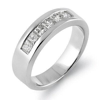 0.75Ct Princess Diamond Wedding G Men's Women's Band Ring 14k White Gold Channel