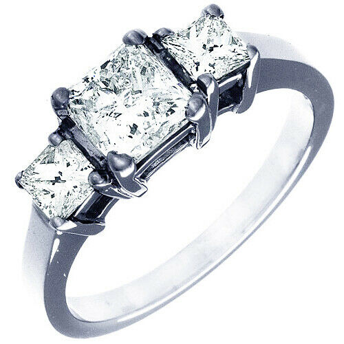 GIA Certified Diamond 3 Stone Engagement Ring 1.40 CT Princess Cut 18K Gold