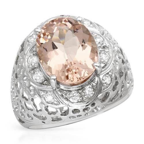 14kt white gold morganite ring ebay