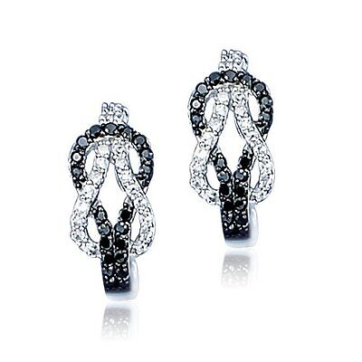 Sterling Silver Black and White CZ Rows Open Love Knot Pierced Drop Earrings Chic Sterling Silver Love Knot