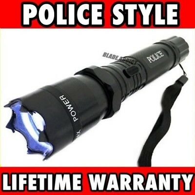Metal POLICE Stun Gun 999 Million Volt Rechargeable LED Flashlight + Taser Case