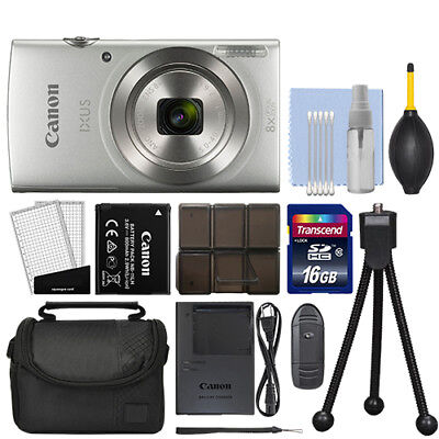 Canon IXUS 185 / ELPH 180 20.0MP Digital Camera 8x Optical Zoom Silver+ 16GB Kit for sale  Shipping to India