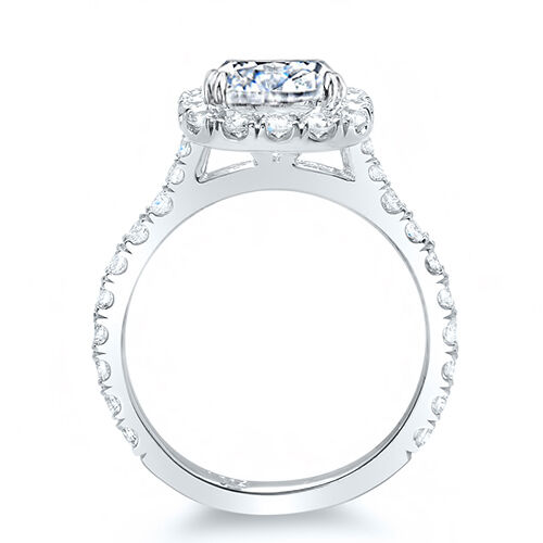 1.86 Ct. Asscher Cut Round Pave Halo Diamond 14K Gold Bridal Ring Set GIA D,VS2 1