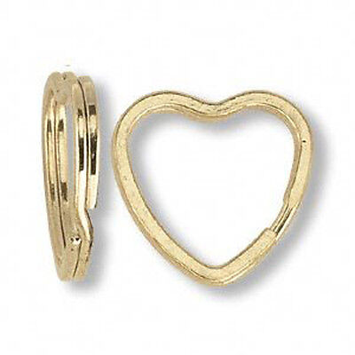 5 Large Gold Plated Heart Shape Key Ring Split Ring
