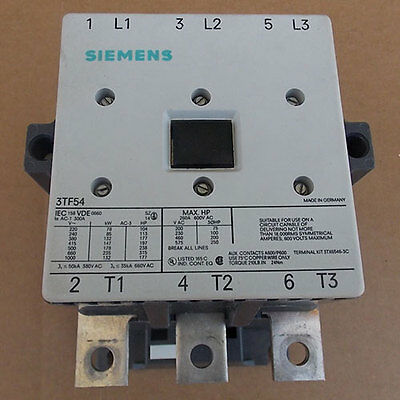 Siemens 3tf54 Magnetic Contactor 250a 600v 3ph 120v Coil Controller Used