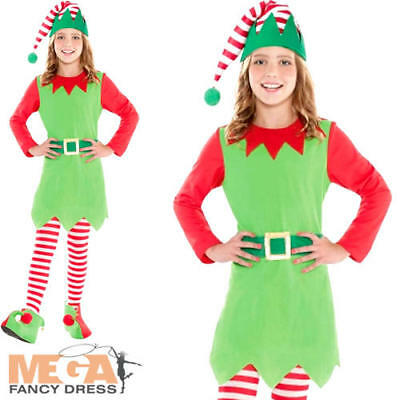 Merry Elf Girls Fancy Dress Age 8-14 Christmas Xmas Childs Kid Teens Costume New