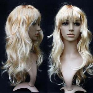 Women-Long-Curly-Wavy-Wig-Cosplay-Costume-Party-Fancy-Dress-Blonde-UK