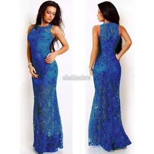 Royal Blue Lace Mermaid Evening Gown Maxi Dress XXS-XS 4, 6 -New