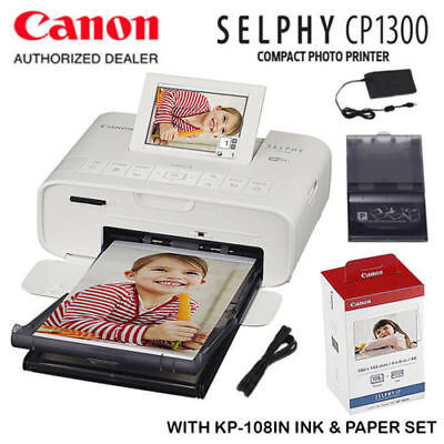 Canon Selphy Cp1300 Compact Photo Printer With Kp 108 Ink Paper Set Bundle Kit