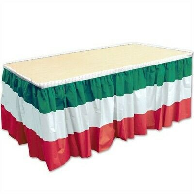 Red, White and Green Plastic Table Skirt 29