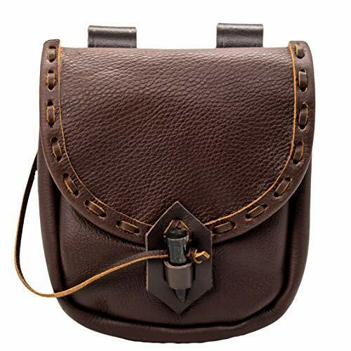 Mythrojan Medieval Leather Pouch Accessory Renaissance Bag - Brown