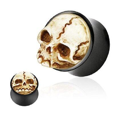 PAIR of CARVED SKULL BONE BLACK HORN EAR Gauge PLUG Ring TUNNEL Piercing Jewelry