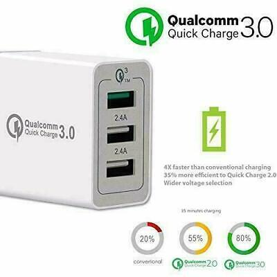 Urbanx Quick Charge 3.0 Usb Fast Wall Mains Charger 30W 3 Port Travel Adapter Qc