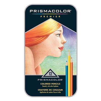 PRISMACOLOR PREMIER 12 Colored Pencils - Tin Box. NEW. FREE SHIPPING!*