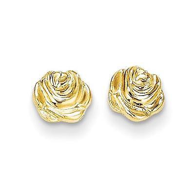 - Madi K 14k Yellow Gold Polished Rose Flower Shape Post Stud Earrings