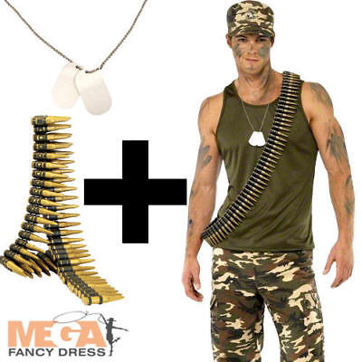 Army Guy + Dog Tags + Bullet Belt Mens Fancy Dress Camo Military Adults Costume  - Army Guy Costume