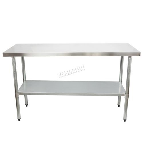 FoxHunter Stainless Steel Commercial Catering Table Work Bench - 5 ft stainless steel table