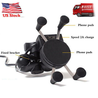 """Motorcycle Handlebar Cellphone Mount 3.5-6"""" Cell Phone Holder GPS USB Charger"""