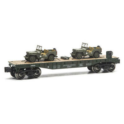 O GAUGE US ARMY FLATCAR WITH 2 U S ARMY JEEPS FLAT CAR LIONEL MTH MENARDS