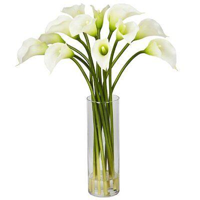 Nearly Natural Calla Lily - Nearly Natural 1187-CR Mini Calla Lily Silk Flower Arrangement- Cream