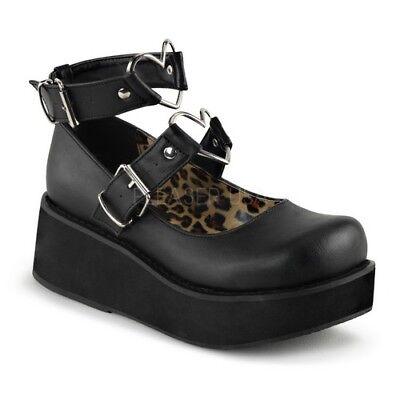 Demonia SPRITE-02 Women's Black Platform Mary Jane Heart O-Rings Studs Shoes