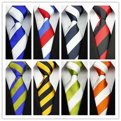 Mens Classic Silk Tie Necktie Black Red White Orange Green Yellow Striped T01