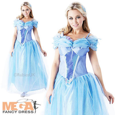 Princess Cinderella Ladies Fancy Dress Disney Live Action Adults Costume Outfit  (Adult Cinderella Outfit)