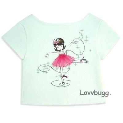 "Lovvbugg White Ballerina T Shirt for 18"" American Girl n Bitty Baby Dolls Clothes"