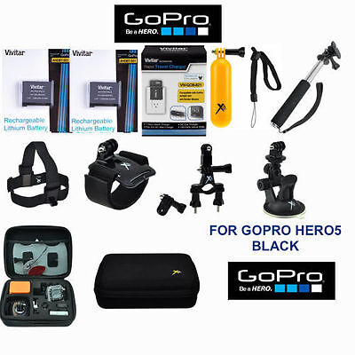 Battery for GoPro HERO5 Black  2PCS + FAST Charger + FULL HD ACCESSORY  KIT