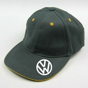 grey  vw baseball cap with yellow trim